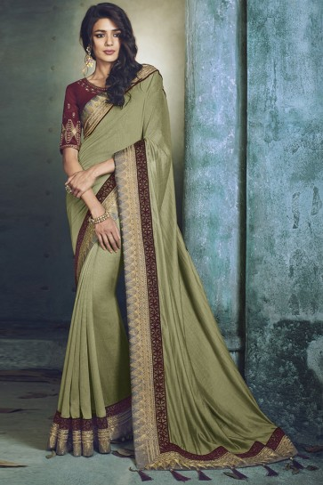 Stylish Mehendi Green Fancy Fabric Jacquard Work Designer Saree