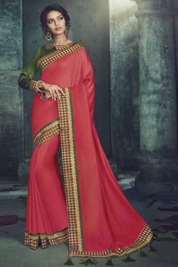 Red Fancy Fabric Designer Jacquard Work Saree