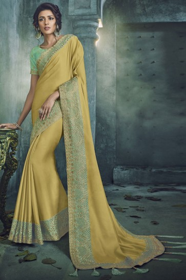 Yellow Fancy Fabric Jacquard Work Designer Saree