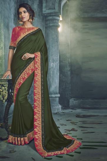 Ultimate Mehendi Green Fancy Fabric Designer Jacquard Work Saree