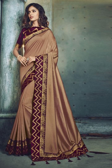 Pretty Brown Fancy Fabric Jacquard Work Designer Saree