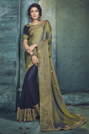 Charming Green and Blue Fancy Fabric Designer Jacquard Work Saree