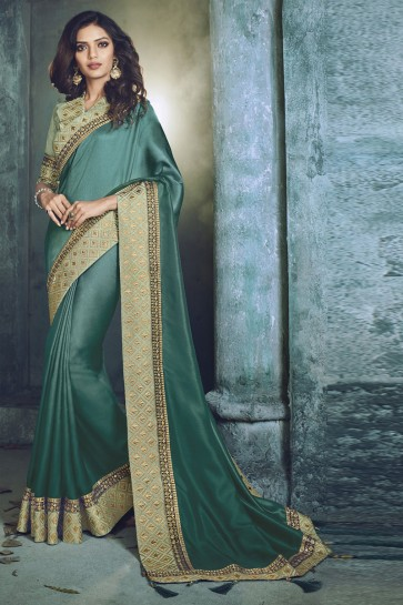 Sky Blue Fancy Fabric Jacquard Work Designer Saree
