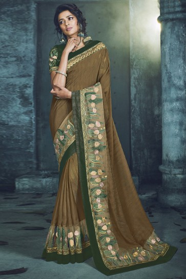 Admirable Chikoo Fancy Fabric Designer Jacquard Work Saree