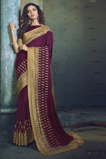 Purple Fancy Fabric Jacquard Work Designer Saree