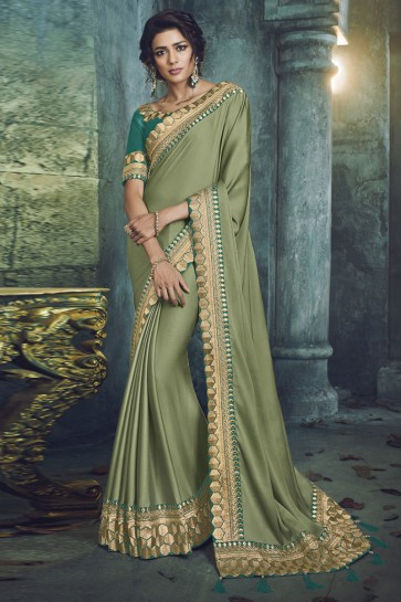 Excellent Green Fancy Fabric Jacquard Work Designer Saree