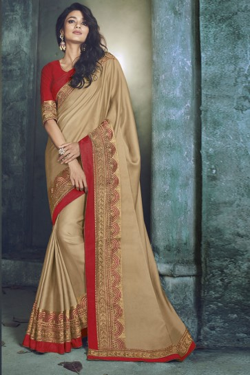 Beige Fancy Fabric Jacquard Work Designer Saree