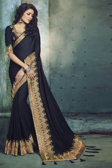 Gorgeous Navy Blue Fancy Fabric Designer Jacquard Work Saree