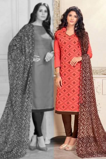 Pink Chanderi Designer Embroidered Salwar Suit With Chiffon Dupatta