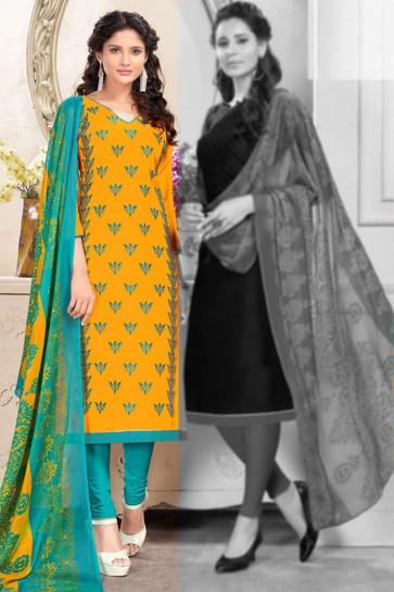 Mustard Cotton Embroidered Salwar Suit With Chiffon Dupatta