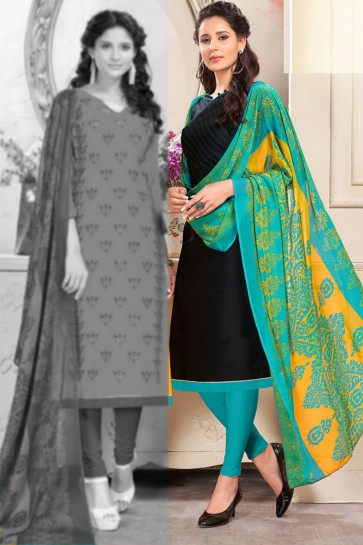 Excellent Black Chanderi Embroidered Salwar Suit With Chiffon Dupatta