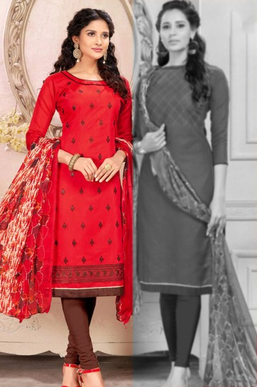 Gorgeous Red Cotton Designer Salwar Suit With Chiffon Dupatta