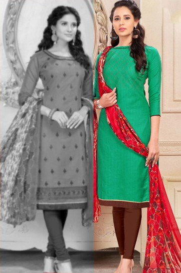 Graceful Green Chanderi Designer Salwar Suit With Chiffon Dupatta