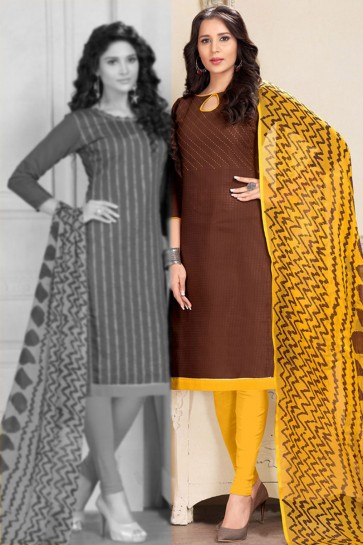 Desirable Brown Chanderi Embroidered Salwar Suit With Chiffon Dupatta