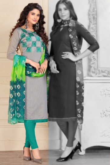 Pretty Grey Cotton Designer Salwar Suit With Chiffon Dupatta