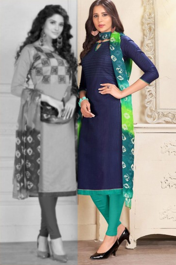 Navy Blue Chanderi Designer Salwar Suit With Chiffon Dupatta