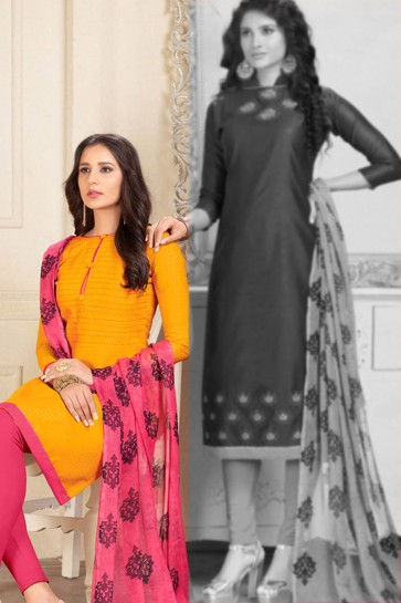 Yellow Cotton Designer Embroidered Salwar Suit With Chiffon Dupatta