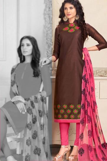 Classic Brown Chanderi Designer Embroidered Salwar Suit With Chiffon Dupatta