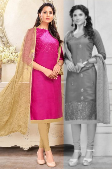Pink Cotton Embroidered Salwar Suit With Chiffon Dupatta