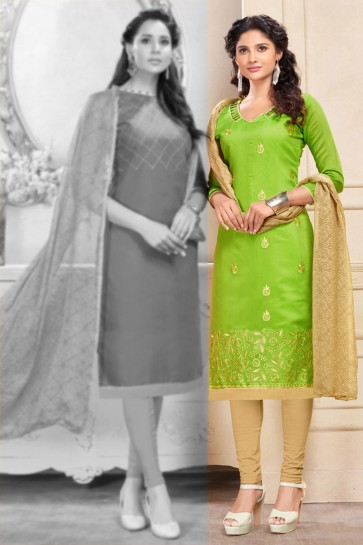 Green Chanderi Embroidered Salwar Suit With Chiffon Dupatta