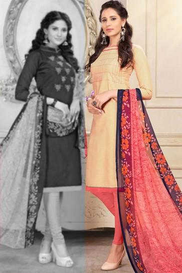 Beige Chanderi Designer Salwar Suit With Chiffon Dupatta