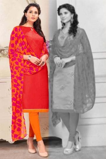 Optimum Red Cotton Designer Salwar Suit With Chiffon Dupatta