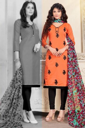 Ultimate Orange Chanderi Designer Salwar Suit With Chiffon Dupatta