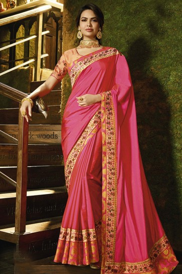 Pink Silk Embroidered Designer Saree With Embroidered Silk Blouse