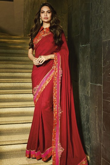 Stylish Red Designer Embroidered Silk Saree With Embroidered Silk Blouse