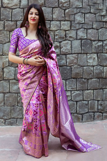 Purple Banarasi Patola Silk Designer Jacquard Work Saree With Banarasi Silk Blouse