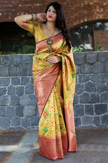 Yellow Banarasi Patola Silk Designer Banarasi Patola Silk Jacquard Work Saree With Banarasi Silk Blouse