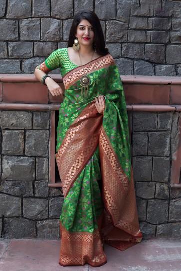 Excellent Green Jacquard Work Designer Banarasi Patola Silk Saree With Banarasi Silk Blouse