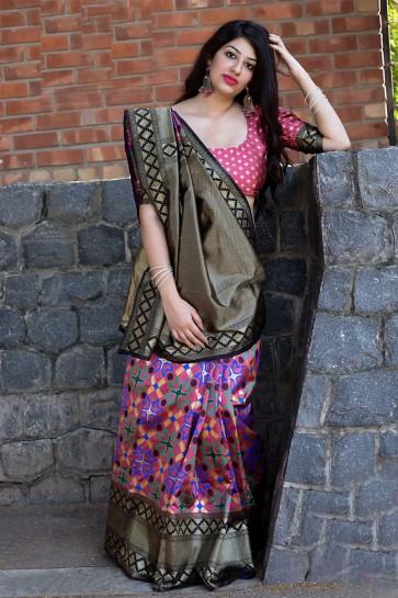 Black Banarasi Patola Silk Jacquard Work Designer Saree With Banarasi Silk Blouse