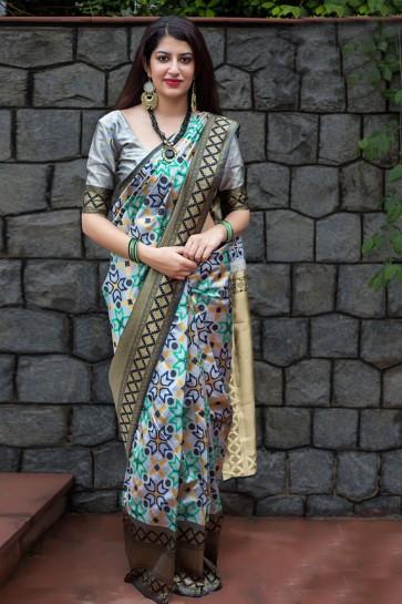 Supreme Silver Jacquard Work Banarasi Patola Silk Designer Saree With Banarasi Silk Blouse