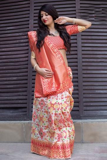 Classic Orange and Off White Banarasi Patola Silk Designer Jacquard Work Saree With Banarasi Silk Blouse