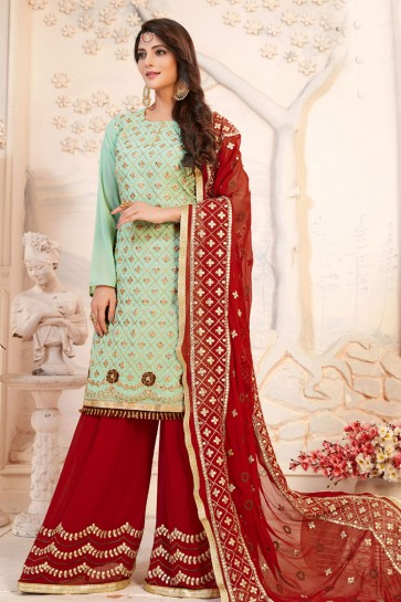 Green Georgette Embroidered Plazo Salwar Suit With Nazmin Dupatta