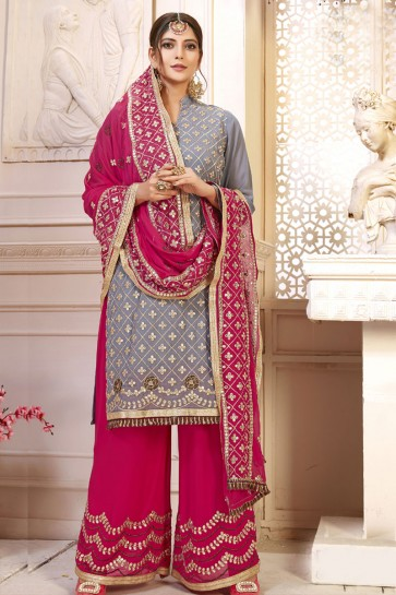 Embroidered Grey Georgette Designer Plazo Salwar Suit With Nazmin Dupatta