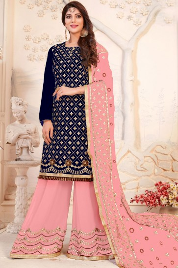Lovely Navy Blue Georgette Plazo Salwar Suit With Nazmin Dupatta