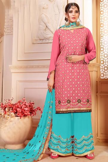 Pink Georgette Designer Plazo Salwar Suit With Nazmin Dupatta
