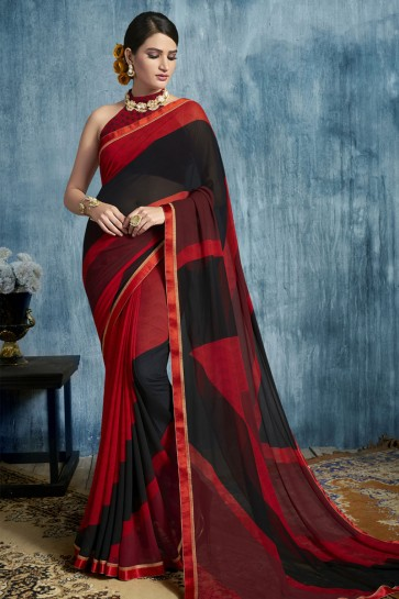 Red and Black Georgette Casual Printed Saree With Georgette Blouse