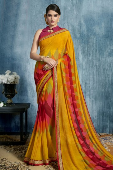 Gorgeous Yellow Georgette Printed Casual Saree With Georgette Blouse
