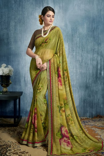 Mehendi Green Georgette Casual Printed Saree With Georgette Blouse