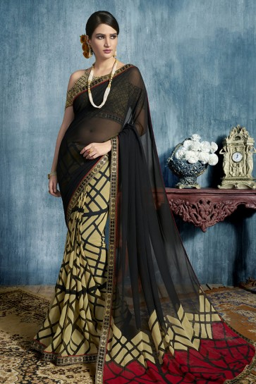Black Georgette Printed Casual Saree With Georgette Blouse