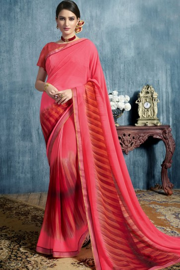 Charming Pink Georgette Casual Printed Saree With Georgette Blouse