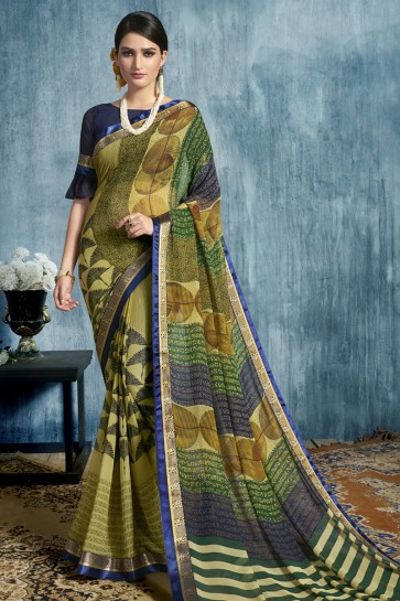 Green Georgette Printed Casual Saree With Georgette Blouse