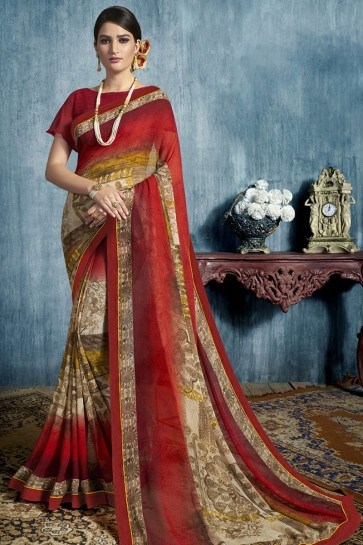 Lovely Red Georgette Printed Casual Saree With Georgette Blouse
