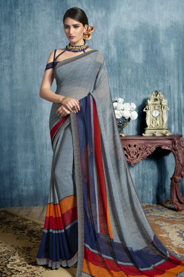 Pretty Grey Georgette Casual Printed Saree With Georgette Blouse