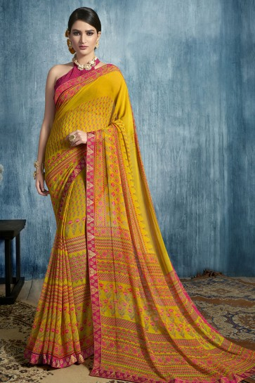 Mustard Georgette Printed Casual Saree With Georgette Blouse