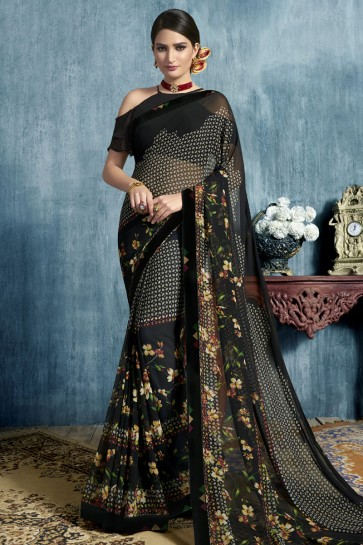 Supreme Black Georgette Casual Printed Saree With Georgette Blouse