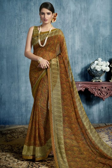 Ultimate Brown Georgette Printed Casual Saree With Georgette Blouse